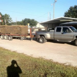 Towing 5 pallets of sod. 2klbs ea.