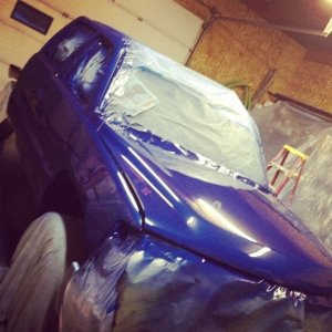 Getting sprayed arrival blue in my shop