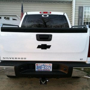back of the chevy, i removed the factory bowtie and put on the black one. i also removed the flex fuel tag.